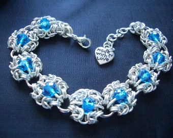 Crystal Byzantine Romanov Chainmaille Bracelet with Aqua Blue crystals
