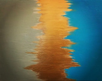 Cashew, Gold and Aqua Blue Abstract