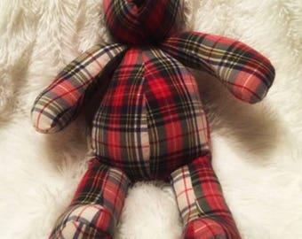 Teddy Bear/memory bear/handmade bear/memory of loved one/Keepsake Bear/memorial teddy bear/memory keepsake/loved ones bear/legacy bear