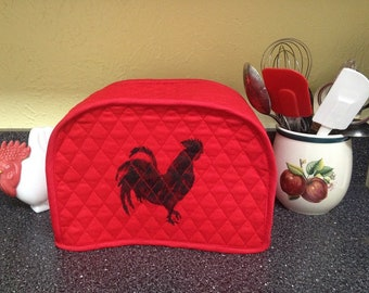 Red 2 Slice Toaster Cover Rooster Kitchen Farmhouse Decor Small Appliance Cover Ready to Ship