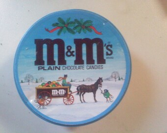 M an M's Christmas Tin with Horse drawn Carriage Scene