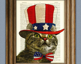 American Curl cat is ready to pledge allegiance illustration beautifully upcycled dictionary page book art print