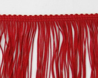 """Deep Red Chainette Fringe 8"""" Trim, Dance Costumes, Decorating, Tassel Trim, Sewing Trim Supplies, Notions, Novelty, 1.5 yard remnant"""