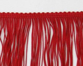 """Rouge profond Chainette Fringe 8"""" garniture, Costumes de danse, décoration, pompon en garniture, garniture de Mercerie, mercerie, nouveauté, vestige de 1,5 yard"""