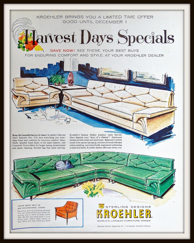 🔎zoom - 1960 Kroehler Furniture Advertisement. Vintage Kroehler Ad.