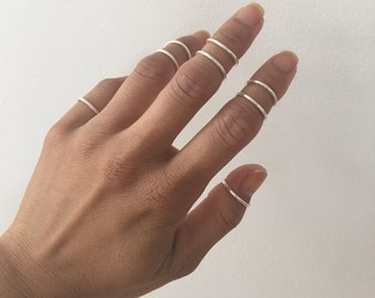 Midi Ring Sterling Silver 925 (4 rings different sizes), Midi Rings, Sterling Silver Rings, 4 Midi Rings, Ring Bands, Simple Ring Bands