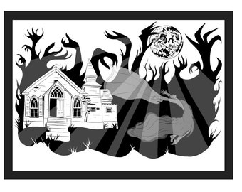 Lady in White / Haunted House / Ghost Bride / Urban Legend / Supernatural Paranormal Haunting / Abandoned Haunted Forest  / Halloween Art A2