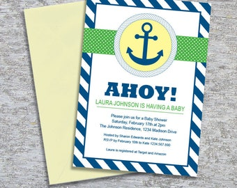 Anchor Nautical Baby Shower Invitation – DIY Printable Personalized – Gender Neutral (Digital File)