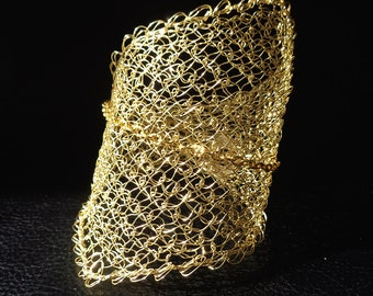 Wire crochet bracelet, statement asymmetric modern gold tone wire mesh cuff bracelet, bridal jewelry, gift for her