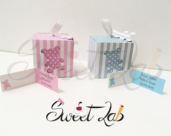 Baptism/Birth favors + personalized card for child or little girl with carved teddy bear polka dots SweetLabShop Lines