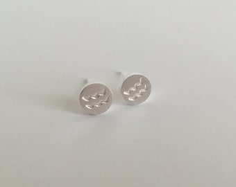 Sterling Silver Horoscope Sign Studs. Everyday Studs. Zodiac Horoscope Earrings. Zodiac Horoscope Earrings. Astrology Studs.