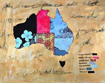 "Australia Collage Map Mixed Media Floral Art  9"" x12"" Watercolor Paper Original World Peace Quote Prayer"