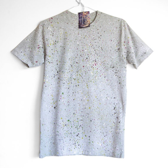 M 2XL NATURAL SPECKLE TEE. 100% Organic Cotton. Hand dyed tee. Unique t shirts. Mens Unisex t shirt. Natural. Grey.