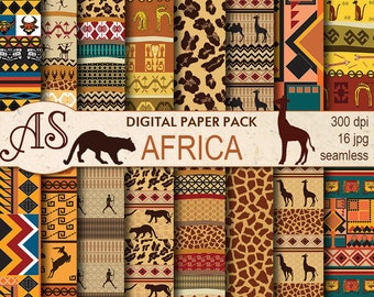 Digital African Ethnic Seamless Paper Pack, 16 tribal printable Scrapbooking papers, africa Digital Collage, Instant Download, set 30