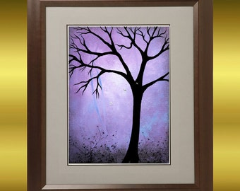 Fantasy Tree Art Print - 8 x 10 -  -- Breaking Dawn -- Tree and Dragonflies