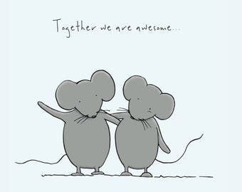 Cute mice couple greetings cards / Valentines day card