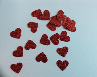 150 hand punched red glitter heart
