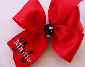 Monogram Name Hair Bow, Special Occasion Hairbow, Custom Boutique Hair Bow, Gift Idea, School Colors Bow, Letter Ribbon, Tween Gift Idea
