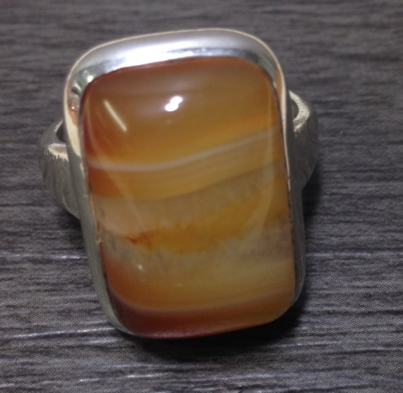 Sterling Silver Quartz Ring Handmade Handcrafted Tangerine Quartz Unique Balance Stone One of a Kind Silver Orange Ring