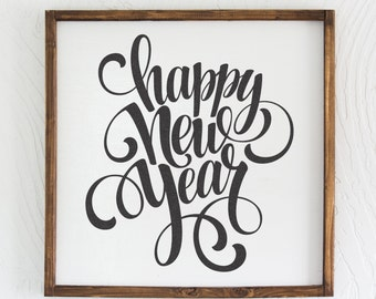 Happy New Year - Wood Sign