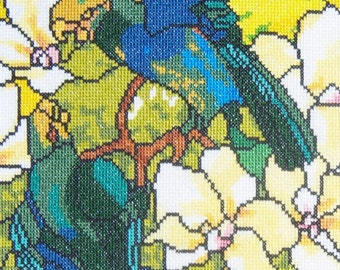 Hibiscus and Parrots Tiffany Glass Reproduction--LB08243