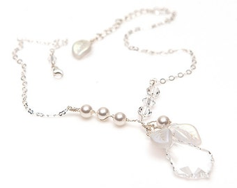 Pearls and Crystal Pendant Necklace, White Beaded Necklace. Christmas Jewelry, Wedding Jewelry