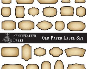 Printable Antique Paper Labels Old Paper Labels Vintage Labels Digital Frames Clip Art