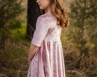 flower girl dress, pink dress, twirl dress, girls dress, dress with sleeves, tween dress, blush dress, formal dress, occasion dress
