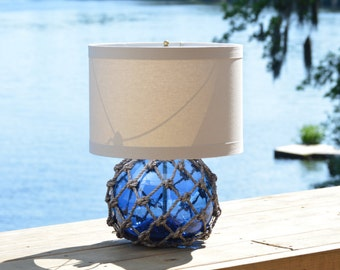 Cobalt Blue Vintage Glass Fishing Float Table Lamp with Linen Lamp Shade