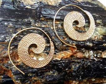 Boho spiral earrings,  Tribal Brass Earrings. Brass Tribal Earrings, Boho Earrings. Gypsy Earrings. Festival jewelry, handmade.