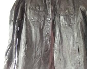 Brown leather shirt jacket sz 16 1970s sz 16