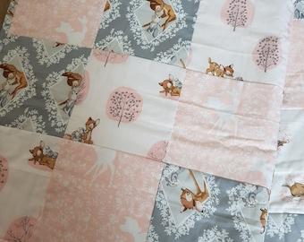 Disney Bambi Thumper Bedding Quilt Patchwork Blanket Cot Bedding Modern Cotton Pink Grey White