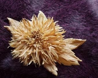Golden Chrysanthemum Flower Brooch and/or Hair Pin