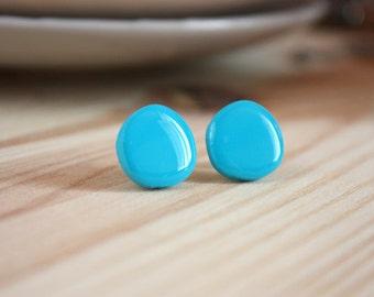 Teal stud earrings Turquoise studs Round stud earrings Turquoise earrings Teal post earrings Resin earrings Resin shiny studs Small studs