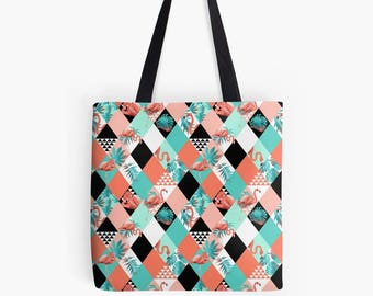 Flamingo Fever (Summer Tropical) - Tote Bag - Death's Amore Clothing - Two Sizes