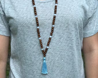 Beaded Tassel Necklace, Wood Bead Necklace, Wood Bead Tassel Necklace, Wooden Necklaces for Women, Wooden Bead Necklace