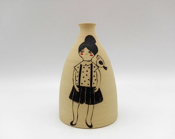 Ceramic vase with a girl and little bird / / Vase in stoneware with girl and bird