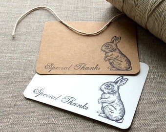 20 Bunny Rabbit Mini Thank You Cards, easter rabbit flat thank you cards, rabbit gift tags