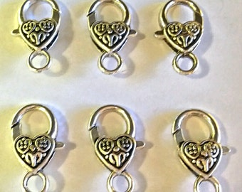 Heart Lobster Clasp - 20 pc. - Lobster Clasp - Snap hook - Heart Clasp - Silver Heart Clasp - Large Lobster Clasp