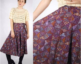 1970's Wrap Skirt - 70's Block Print Skirt - Purple Cotton Skirt - Size S/M