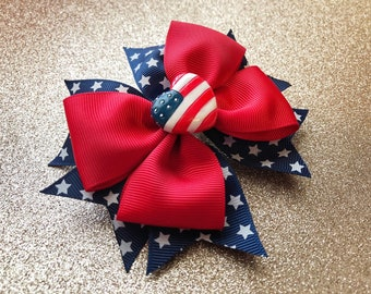 American flag bow, Stacked bow, Memorial Day bow, 4th of July bow, Red white and blue bow