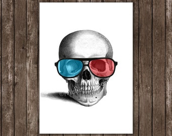 anatomy poster - skull with 3d glasses art print, anatomy giclée - skull wall art, skull home decor