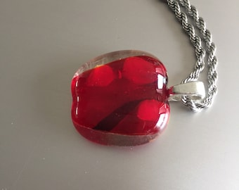 Glass pendant red-necklace-transparent glass-jewelry-pendant-Birthday gift-Gift woman-schmuck Frau-Kette-glasfusing-Red glass (with chain)