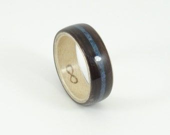 Bent Wood Ring -Ebony and Maple with Blue Lapiz Inlay, Handmade Wooden Ring In Any UK or US Size
