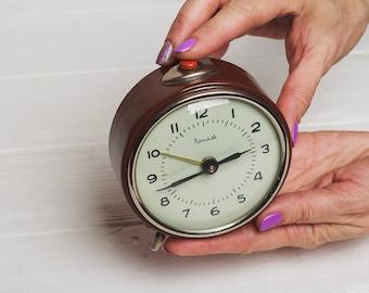 Alarm clock Soviet clock Mechanical desk clock Vintage Home decor Valentines gift for him man boyfriend USSR Retro wind up table clock
