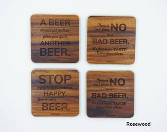 Wooden beer coasters with beer quotes with magnetic beer coasters holder
