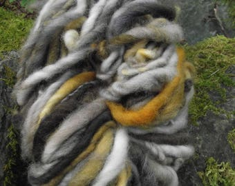 Handspun yarn, handpainted,Super Bulky Thick and Thin Art Yarn, Burly Spun Felted  wool art yarn-Barred Owl