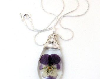 Purple Violet Resin Teardop Necklace - Real Flower Encased in Resin - Pressed Flower Jewelry - Resin Necklace -  Wire Wrapped Pendant