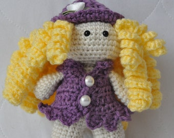 Handmade crochet doll, doll, Curly Blonde Doll
