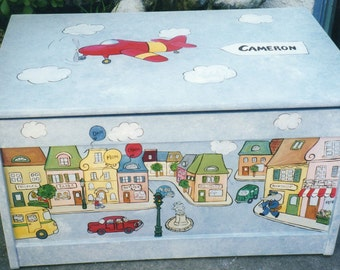 toy box, painted toy box, boys hand painted toy box, children's toy box, kids toy chest
